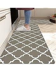 """Homcomoda Anti Fatigue Kitchen Rugs Set 2Piece Waterproof Kitchen Floor Mat Easy to Clean Non Slip Comfort PVC Leather Heavy Duty Standing Mats Indoor Outdoor(17""""×28"""" + 17""""×47"""")"""