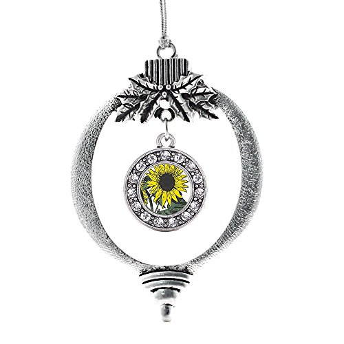 Inspired Silver Sunflower Circle Holiday Christmas Tree Ornament With Crystal Rhinestones