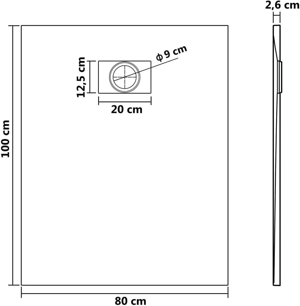 Receveur de Douche 120 x 70 cm SMC Noir pour Salle de Bain Tidyard Bac de Douche
