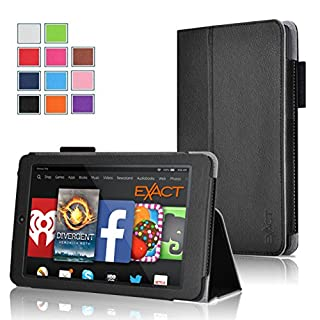 Fire HD 6 Case - Exact Amazon Kindle Fire HD 6 Case [PRO Series] - Premium PU Leather Folio Case for Amazon Kindle Fire HD 6 (2014) Black