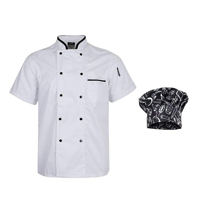 D DOLITY Chaqueta con Gorra de Chef Unisex 2XL Ropa de ...