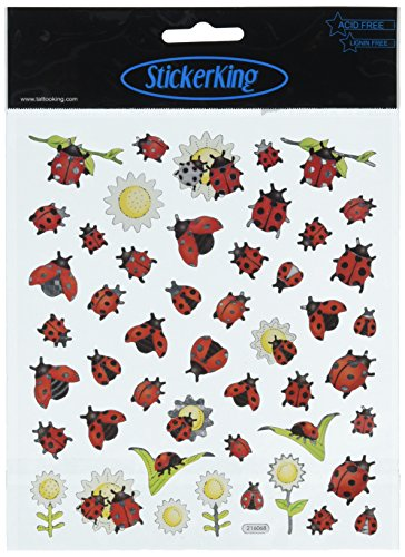 Tattoo King SK129MC-4175 Multicolored Sticker, Ladybugs and Sunflowers (Lady Bug Scrapbook Paper)