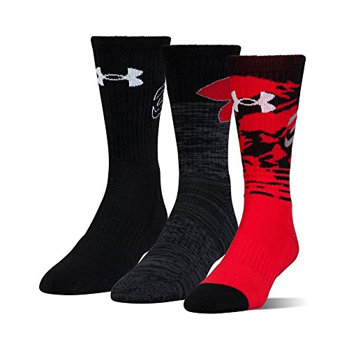 Under Armour Boy's Boys Phenom Curry Crew (3 Pack), Red, Youth Large