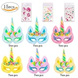 Unicorn Masks Party Supplies- 12 Pcs Rainbow Unicorn Paper Masks and 3 Pack Unicorn Cartoon Tattoo for Kids Gift Birthday Party Favors