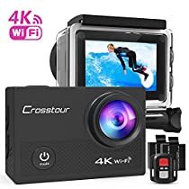 Crosstour Action Cam 4K Wi-Fi 16MP Ultra HD Impermeabile 30M Immersione Sott'acqua Camera con Schermo 2 Pollici 170 Gradi Ampia Vista Grandangolare/Telecomando 2.4G/20 Accessori