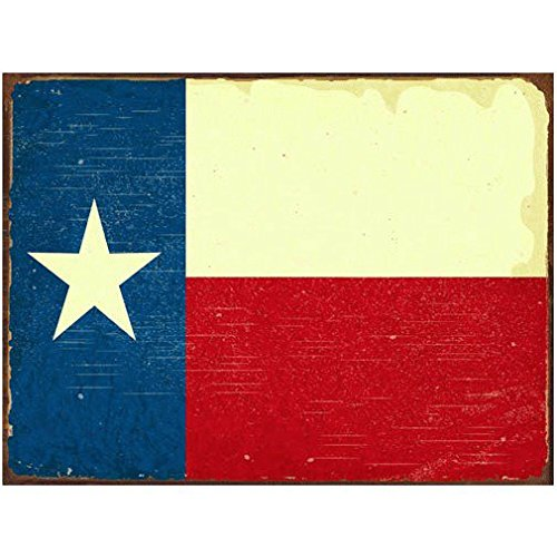 Texas Flag Metal Sign, Vintage Sign, Rustic Decor (Decor Western Sign)