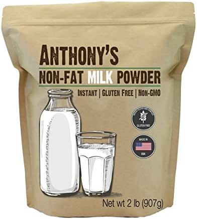 Anthony's Non Fat Milk Powder, 2lbs, Instant, Gluten Free & Non GMO