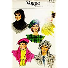 Vogue Patterns - Printed Pattern - Sewing #9454 - 1985 - misses' Hat and Hood , Size All Sizes