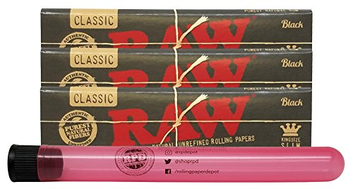 RAW Black Natural Unrefined King Size Slim Rolling Papers (3 Packs) with Rolling Paper Depot XL Kewl - Raw Black