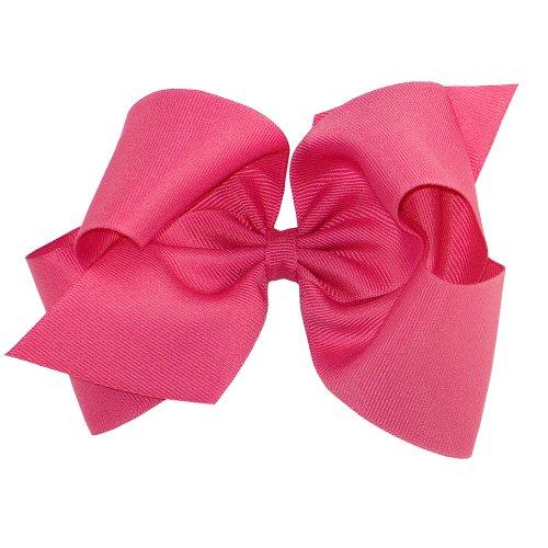 Wee Ones Baby Girls' King Grosgrain Hair Bow on Barrette w/Plain Wrap - Shocking -