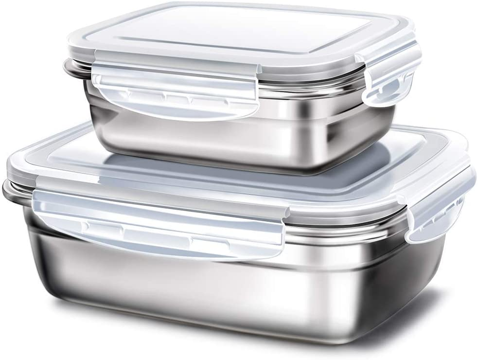 G.a HOMEFAVOR 2 In 1 Stainless Steel Lunch Containers - LunchBox Container Set LeakProof Light Easy Metal Food Containers Storage Set of 2 Stackable Bento Box BPA FREE - Gray