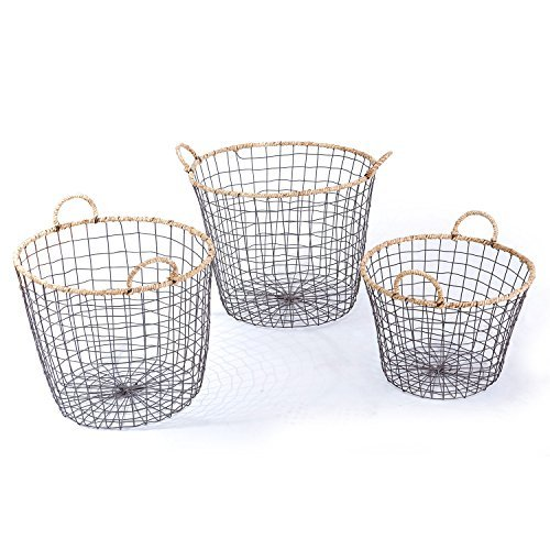 Adeco Multi-Purpose Oval Iron wired Baskets with Handles and rope Lining Home Decor, Set of 3