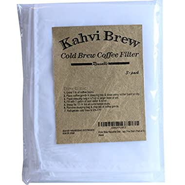 Khavi Brew Reusable Cold Brew Coffee Filter Bags, Fine Mesh (Pack of 3)