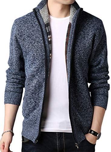 ニットカーディガン メンズ ニットアウター ニット ジャケット コート セーター ニットジャケット 羽織 ジップアップ ハイネック 厚手 裏起毛 裏地付き 無地 カジュアル 暖かい