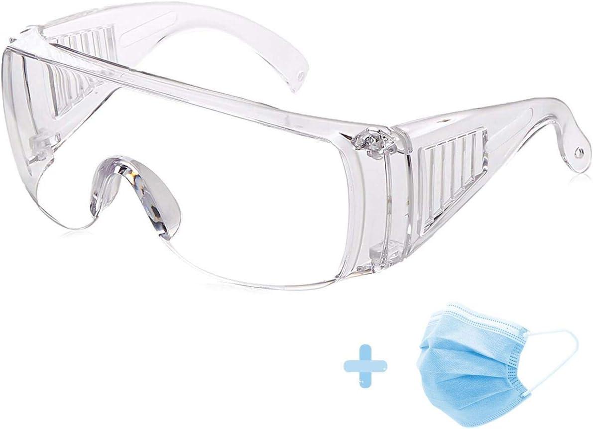 ASEOK Gafas de seguridad,Cubregafas Protectoras,Lentes de Seguridad antivaho,para Laboratorio, Agricultura, Industria