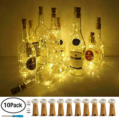 LoveNite Wine Bottle Lights with Cork, Warm White 10 Pack Battery Operated LED Cork Shape Silver Copper Wire Colorful Fairy Mini String Lights for DIY, Party, Decor, Christmas, -