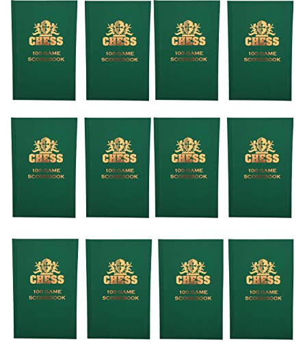 WE Games Chess Scorebook & Notation Pad - Green Hardcover - Bulk Pack - Includes 12 Books