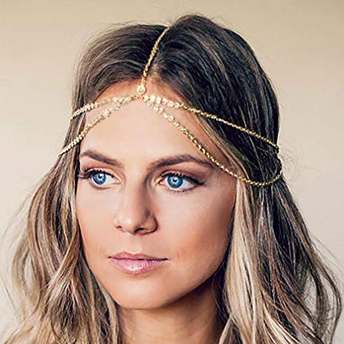 Yean Gold Head Chain Bohemian Hair Jewelry Headpiece Forehead Band Festival Hair Headband Accessories for Women and Girls (Gold) -