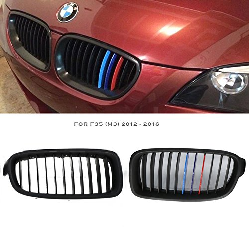 Syneticusa ///M Color For 2012-2016 F35 3 Series 4 Door Sedan Matte Black Front Kidney Grille Grill 2pcs 2013 2014 2015