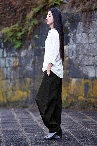 Giovane Harem Pantalone Libero Pantaloni Women Pantaloni Tasche Pantaloni Casual Taglie Autunno Eleganti Vita Nero Grazioso Donna Pantalone Con Monocromo Baggy Due Larghi Dei Alta Forti Moda Primaverile 8qqCpdwxA