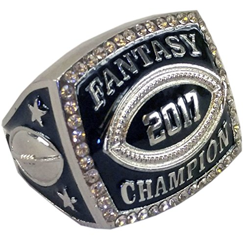 Decade Awards 2017 Fantasy Football Champion Ring with Rhinestone Border | Heavy FFL League Champ Ring with Stand (SILVER (Fantasy Border)