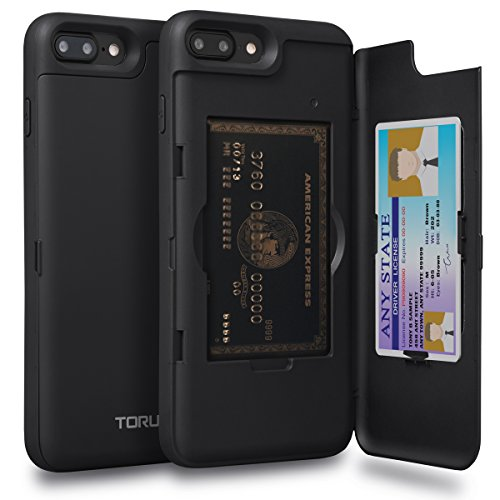 Plus Wallet Case with Hidden ID Slot Credit Card Holder Hard Cover & Mirror for iPhone 8 Plus / iPhone 7 Plus - Matte Black ()