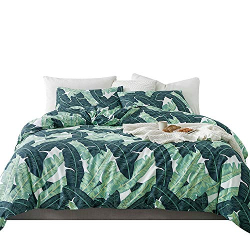 (YuHeGuoJi 100% Cotton 3 Pieces Duvet Cover Set Green Banana Leaves Print Bedding Set with Zipper Ties 1 Tropical Botanical Duvet Cover 2 Pillowcases Hotel Quality Soft Stain Resistant Durable)