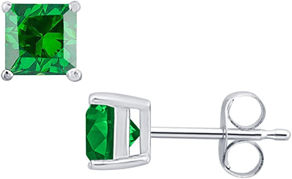 Solitaire Stud Earrings 14K White Gold Over .925 Sterling Silver Gold /& Diamonds Jewellery 3.90 CT Princess Cut Emerald 8MM
