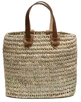 "Moroccan Straw Handbag / Tote Bag w/ Leather Handle, 17""Lx5""Wx10""H - Algiers"