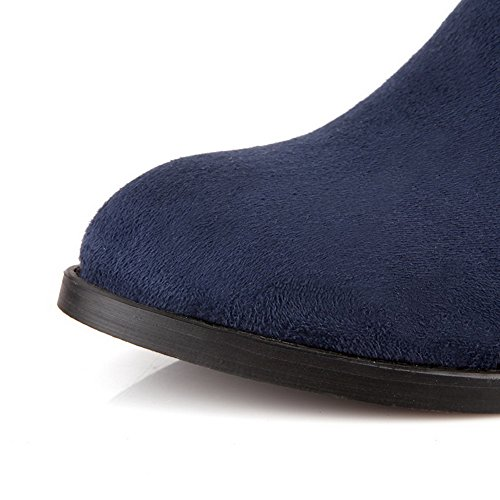 Imitated Heels Kitten Blue 7 Boots Toe Round US 5 Solid Closed M Suede with AmoonyFashionWomens B Metalornament wFtqIPXn