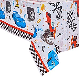 WERNNSAI Racing Car Tablecloth – 86.6″ x 52″ Disposable Plastic Rectangular Checkered Table Covers for Kids Birthday Game Sports Events Race Car Party Supplies