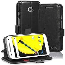 Vena Motorola Moto E (2nd Gen) Case [vFolio] Vintage Genuine Leather Wallet Stand Case Cover [Card Pockets] for Motorola Moto E (2nd Gen, 2015) (Black / Red)