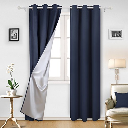 Deconovo Navy Blue Blackout Curtains Grommet Curtains with Silver Coating for Kids Bedroom 42 By 95 Inch Navy Blue 2 Panels