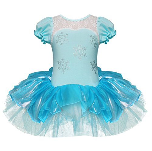 YiZYiF Baby Girl Child Ballet Outfits Child Leotard Tutu Dancewear Party Dress Blue 5-6 -