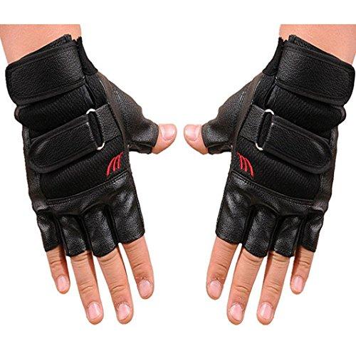 Leather Gloves Men Fingerless, Lowprofile Men Antiskid Gym Exercise Training Bikes Fitness Sports Half Finger Gloves