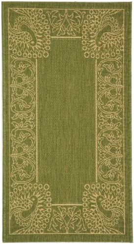 Safavieh Courtyard Collection CY2965-1E06 Olive and Natural Indoor Outdoor Area Rug 2 x 3 7