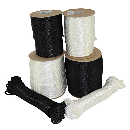 SGT KNOTS Dacron Polyester Rope (3/16 inch) Solid Braid Black or White - Moisture, Oil, UV, Rot Resistant - Boating, Anchor, Towing, Mooring Lines, Antenna Guy Line, More (50 feet - Black)