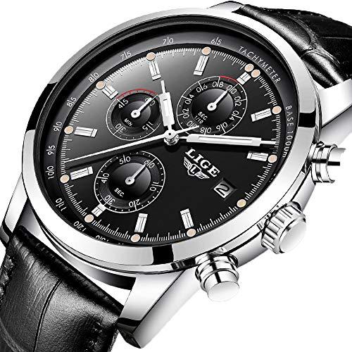 Watches Fashion Waterproof Analog Quartz Watch Top Brand LIGE Wristwatch Casual Sport Black Leather Chronograph Watch Business Dress Date Clock …