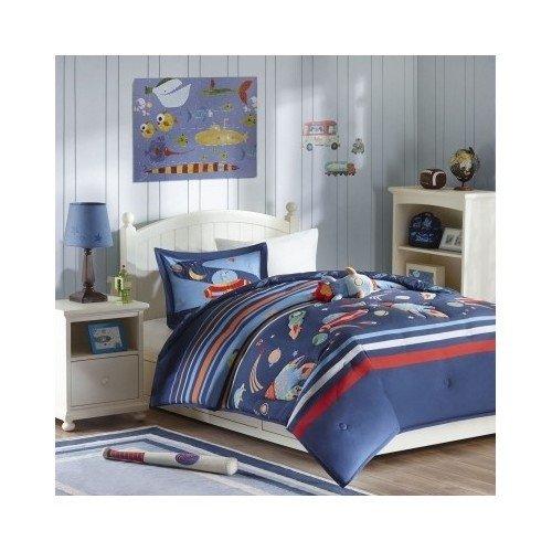 Modern Kids Boys Comforter Bedding Set Space Blue Orange ...