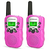 TOP Gift Toys for 3-12 Year Old Girls, Handheld Walkie Talkies for Kids 2 Mile Range Built in Flash Light Hunting Accessories Gifts for 3-12 Year Old Girls Pink TGDJ06