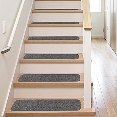 13 Stair Treads | Non Slip Carpet Pads | Easy Tape Installation & Rubber Backing | Safe for Wood Steps + Indoor Vinyl Flooring | Safety Grip Rug Set with Clear Adhesive Strips Black Anti Slip Ladder