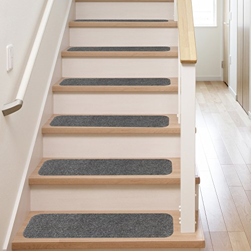 13 Stair Treads | Non Slip Carpet Pads | Easy Tape Installation U0026 Rubber  Backing | Safe For Wood Steps + Indoor Vinyl Flooring | Safety Grip Rug Set  With ...