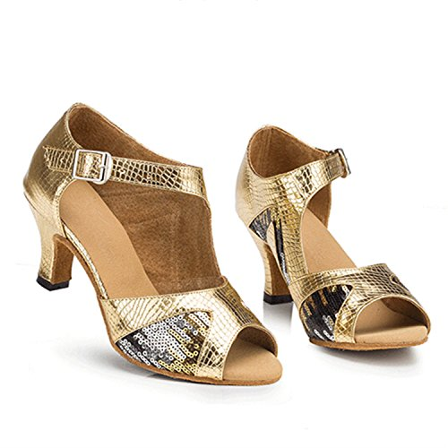Women's Tango Shoes W1114 Dance Shoesland Ballroom Chunky Heel Dance Gold Salsa Toe Latin Peep wfCC5naq