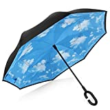 Double Layer Wind Proof,UV Proof, durable, self standing Proof Reverse Folding Inverted Umbrella Travel Umbrella with Hands free C Shape Handle (Sky and cloud) For Sale
