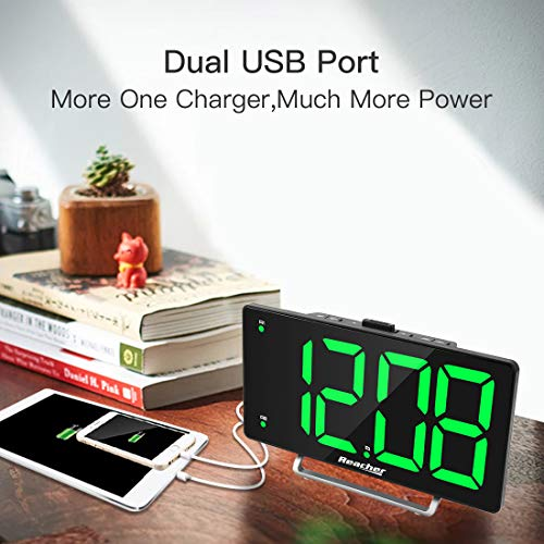 Large LED Digital Alarm with USB Charger Seniors Simple Number Green Alarm for Bedrooms