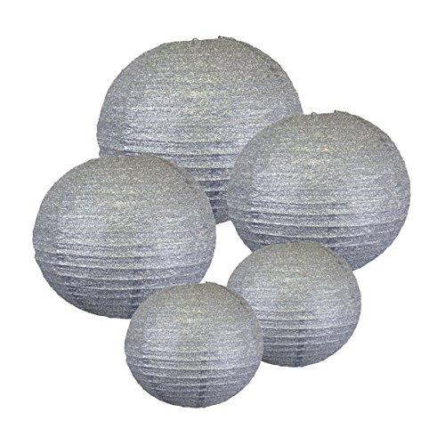 Just-Artifacts-GLITTER-SILVER-Paper-Lanterns-Assorted-2-8inch-2-12inch-1-16inch-Just-Artifacts-Brand