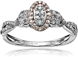 10k Pink and White Gold Diamond Engagement Ring (1/4cttw, I-J Color, I2-I3 Clarity), Size 7