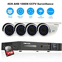 OWSOO Home Security Camera System 4CH Security Camera System with 4CH AHD 1080N CCTV DVR + 1TB HDD+ 4pcs 720P Waterproof Camera + 4pcs 60ft Cables Support P2P Cloud Onvif Night Vision IP66 etc