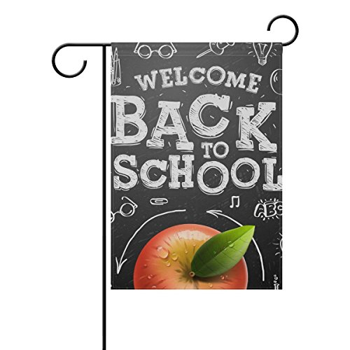 (COCOBE Welcome Back to School Blackboard Doodles Garden Flag Double Sided Fade Resistant Polyester Holiday Decorative House Flag Banner 12x18)