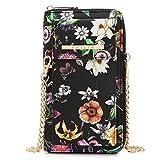 Cellphone Wallet Smartphone Pouch Clutch Purse Crossbody Shoulder Bag Wristlet (3020-Black Floral)